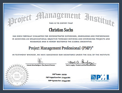 PMP Certificate Christian Sachs