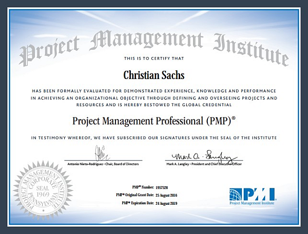 PMP® Certificate Christian Sachs