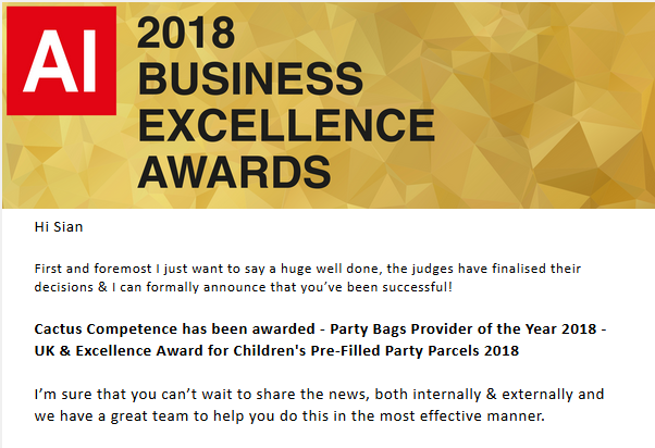 2018 Business Excellence Award #1